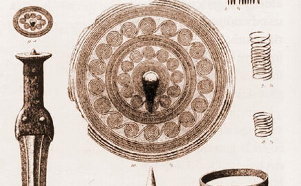 4: Gravgaverne fra den rigt udstyrede kvindegrav. (Tegn. A.P.Madsen, Nat.mus.)