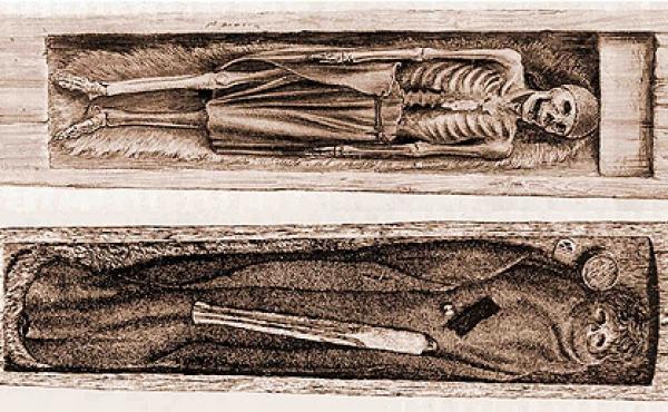 6: Egekisterne med de to mænd. Øverst den gamle mand og nederst den ca 22-årige mand. (Tegn A.P.Madsen, Nat.mus)