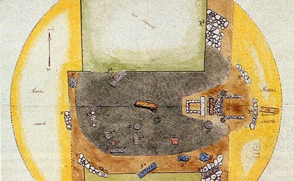 7: Grundplan over 1875-udgravningen med alle kendte gravanlæg indtegnet.