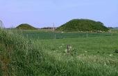 9: To af de genopførte gravhøje set fra Borum Eshøj mod nord.