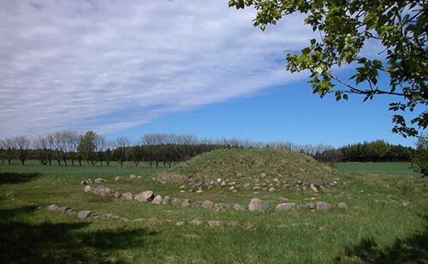 1: Den udgravede og rekonstruerede Egehøj set fra sydvest.