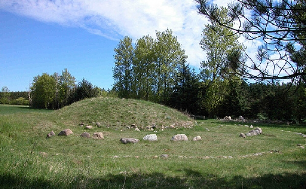 6: Egehøj - totalbillede af den første gravhøj og dens senere udbygning markeret med stencirklerne.