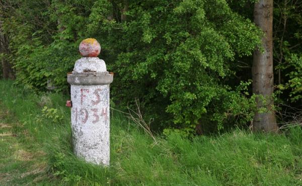 2: Ved indgangen til skoven står gamle markeringssten.