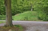1: Den store gravhøj på festpladsen i Fanefjord Skov set fra vest.