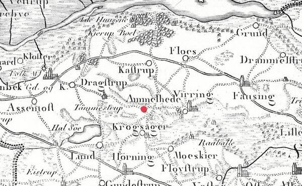 10: Udsnit af Videnskabernes Selskabs Kort fra 1789 med stednavnet Ammelhede.