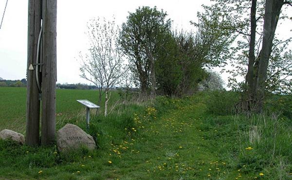2: Trampestien ind til Loddenhøj med informationsskiltet.