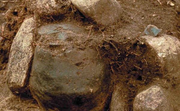 11: Stenpakket bronzealdergravurne fra en af de små gravhøje i Alstrup Krat.