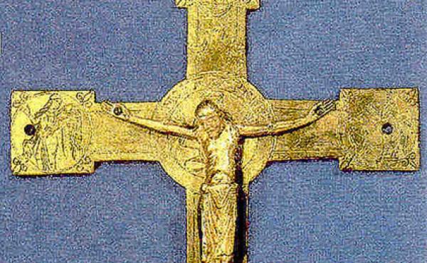 3: Middelalderkorset fra Ons- bjerg kirke. Originalkorset er på Nationalmuseet. (foto udlånt af Danmarks Kirker, Nat.Mus.)