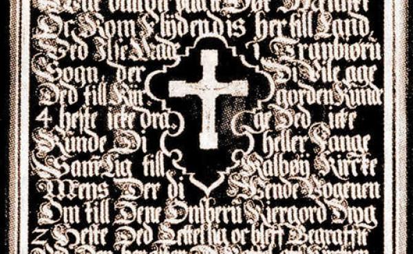 4: Mindetavlen som gengiver sagnet i Onsbjerg kirke (foto udlånt af Danmarks Kirker, Nationalmuseet).