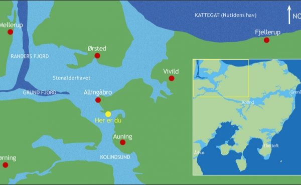 Kort over den vestlige del af Kolindsund i oldtiden.