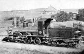 En af de 7 tyske Hanomag-lokomotiver som kørte på Østjyske Jernbane. Her ved