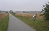 Den gamle jernbanedæmning ved Molbjerg er nu omdannet til natursti mellem Allingåbro og Auning. Her set fra sydøst ved Molbjerg.