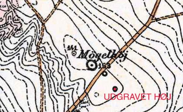 8: Udsnit af målebordsblad 1:20.000 med tre gravhøje.