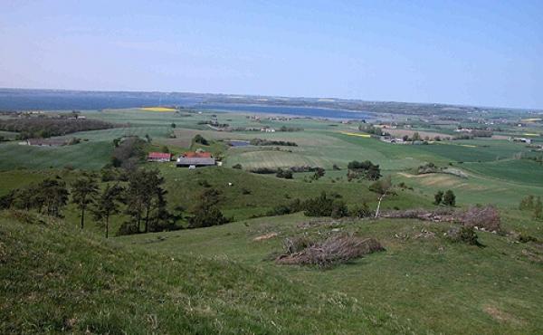 4: Kalø og Egens Vig nordvest for Stabelhøje. I midten anes Kalø Slotsruin.
