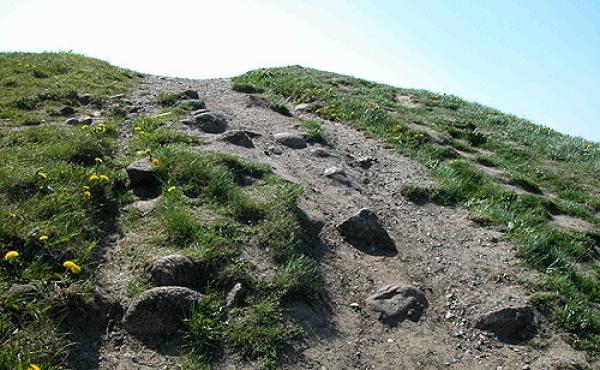 8: I toppen af højene ses højens beskyttende stenpakning flere steder.