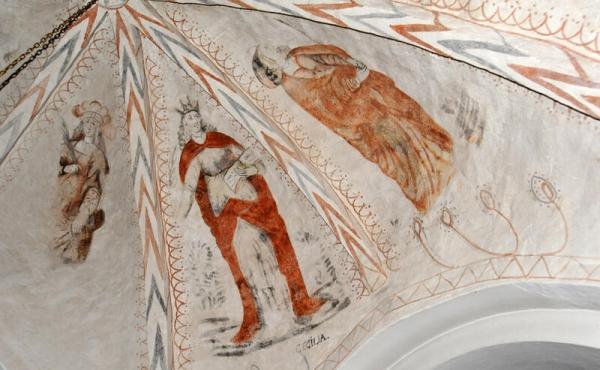 12: Kalkmalerier i loftet af Vium Kirke.