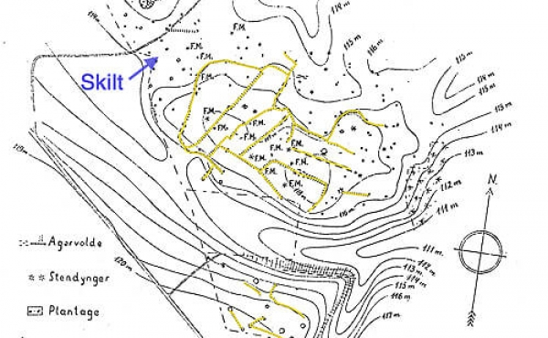 Plantegning fra 1935 af jernaldermarkerne mv. ved Hjortsballe. Markskellene er her optegnet med gult og placeringen af skiltet og den største høj er markeret.