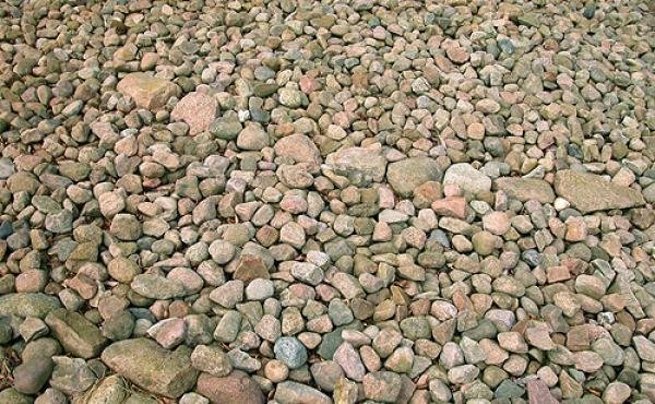 5: Udsnit af det massive sten- dække og stenrækkerne i den sydlige høj.