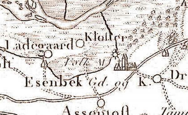 Udsnit af Videnskabernes Selskabs kort fra 1791. Volk Mølle og klostertomten ses nord for kirken.