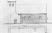 Facadetegning fra omkring midten af 1800-tallet af den nu nedrevne Essenbæk Kirke.