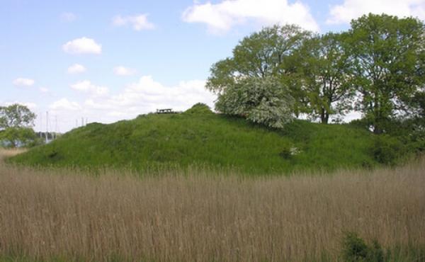 Voldbanken med Jungshoved Slot omgives af en vandfyldt grav til alle sider. Her set fra syd.