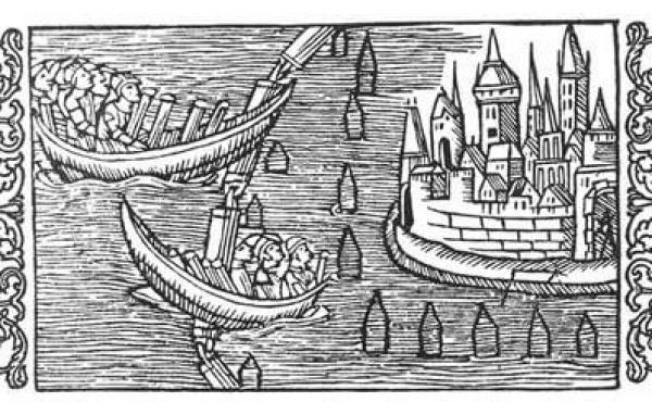 Sejlspærringer beskytter borgen. Fra Olaus Magnus bog om de nordiske folks historie fra 1555.