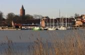 Gåsetårnet ved borgen i Vordingborg og stedet for sejlspærringen set fra Oringe.