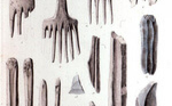 10: Benkamme og -prene fra 1800-tallets udgravninger. Til højre en flot flækkekniv og i midten Erte- bøllekulturens karakteristiske tværpil i flint. Tegn. A.P. Madsen, Nat. Mus.