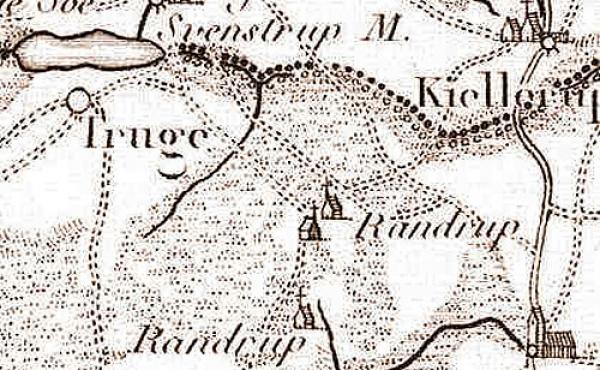 Kun den ødeliggende gård ved Randrup er afsat på 1791-kortet.