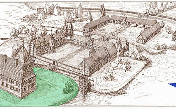 Rekonstruktionstegning fra 1921 af det fuldt udbyggede Silkeborg Slot. Med grønt slotsholmen hvor grundridset af stenhuset nu er markeret.