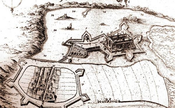 Skanderborg Slot og købstad set fra nord i Resens Atlas fra 1677.