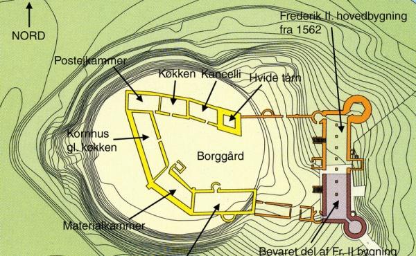 Gentegnet plan over Skanderborg Slot fra 1668 med højdekurver. Klik på kortet for yderligere forklaring. (efter J. Koch 1999).