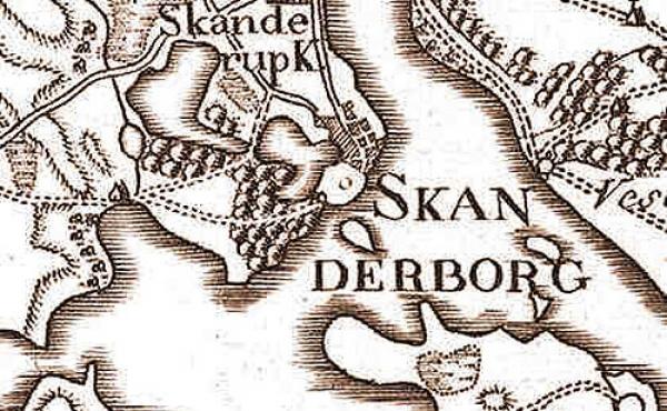 Udsnit fra Videnskabernes Selskabs kort over Skanderborg fra slutningen af 1700-tallet. Øen med slottet ligger midt i billedet.
