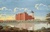 :Maleri fra 1746 med Frederik II. Nye hovedbygning og middelaldertårnet som dengang var hvidkalket.