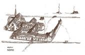 Rekonstruktion af det fuldt udbyggede Kloster ved Øm. Nordligst klosterkirken, herefter den 4-fløjede klostergård og den ydre klostergård mod syd.( Efter H. Garner 1984)