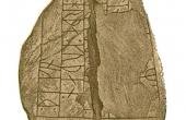1: Langåstenen III optegnet af Wimmer, 1899-1901 med runeteksten X (rejste denne) sten (efter Y) sin broder, en meget god Thegn