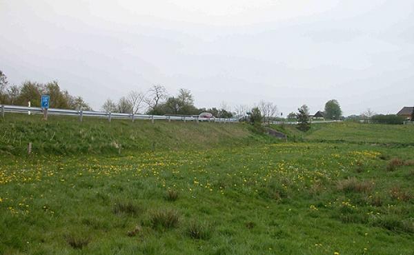 5: I engen mellem Sjelbrostenen ses flere gamle vejdæmninger. Denne nærmest nutidens landevej er fra Chr. d. IV. Tid.