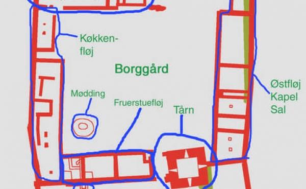 Plantegning af Kalø-borgen.