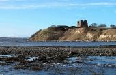 Kalø-ruinens tårn og ringmur set fra sydøst.