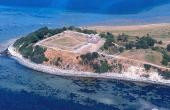 Luftfoto af Kalø-borgen set fra syd.