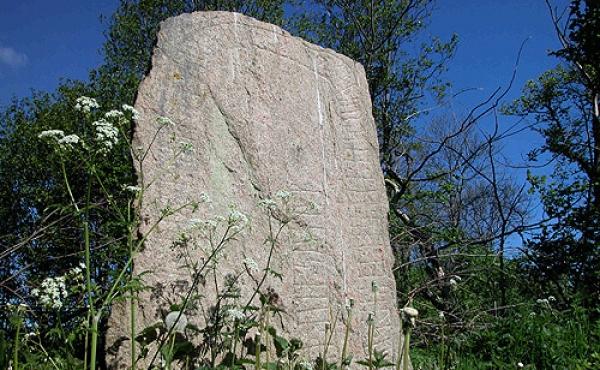 1: Runeteksten på forsiden af Svenstrup-stenen set fra syd.