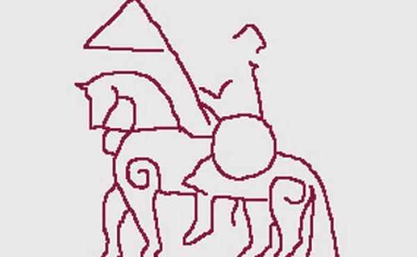Rytterfiguren på bagsiden af den store Ålum-runesten.