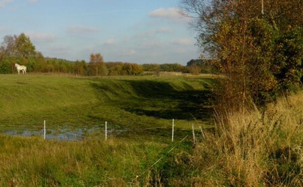 Panorama over kanalen ved Fladbro - set fra sydvest ind mod Randers.