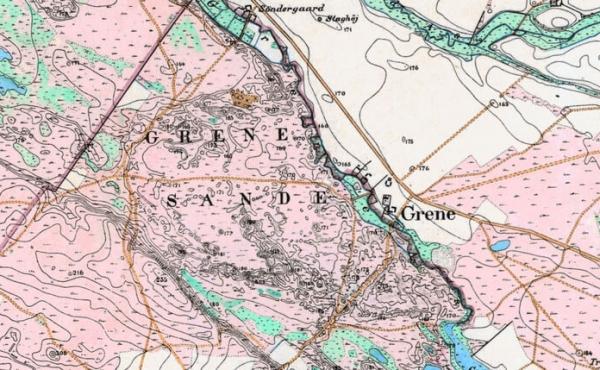 Generalstabskortet fra forrige århundrede viser tydeligt datidens store hedeområder.