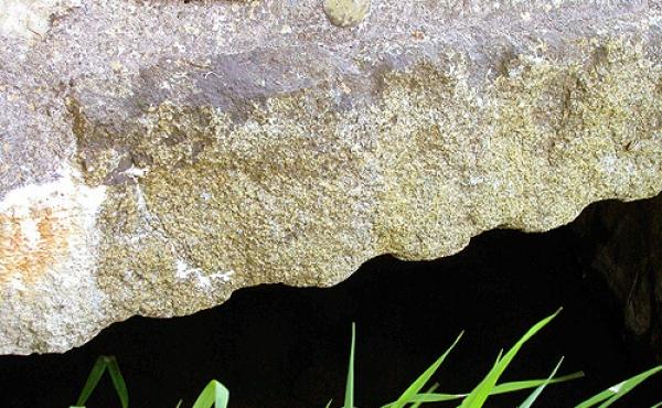 Detalje af kløvningsriller i de lange stenplanker som bærer broen.