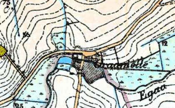 Kortudsnit fra Generalstabskortet fra omkring 1850 viser tydeligt det tidligere møllested, og de nu totalt ændrede omgivelser.