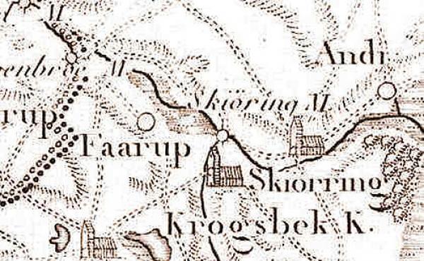 Udsnit af 1791-kortet hvor Krogsbæk Kirke stadig fungerede.