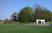 Krogsbæk Ødekirke i nordvest-hjørnet af Krogsbæk sogn som stedet ser ud i dag. Her set fra syd.