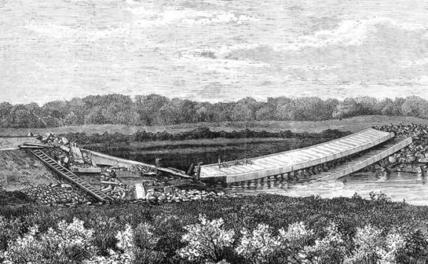 Kassebroen sprængt 1864. Fra Illustreret Tidende.