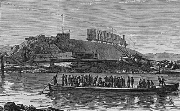 Kågdrift over Gudenå efter brosprængningen 1864. Fra Illustreret Tidende.